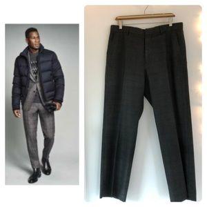 🥄GUC- 34x30 Grey Plaid Wool-Blend Dress Pants
